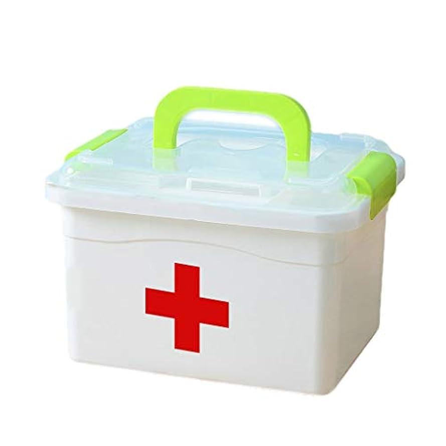 つまずく誘発する親密な家庭用薬箱多層プラスチック製薬収納ボックス子供医療ボックス訪問 HUXIUPING (Color : Green, Size : S)
