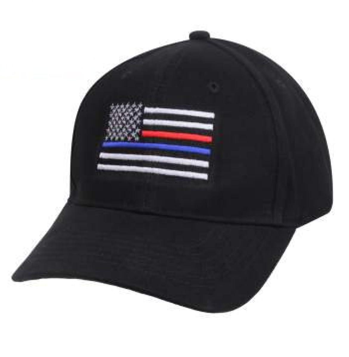 曖昧な鳴らす厄介なROTHCO / ロスコ 8754 Thin Blue Line & Red Line Low Profile Flag Cap 帽子/キャップ