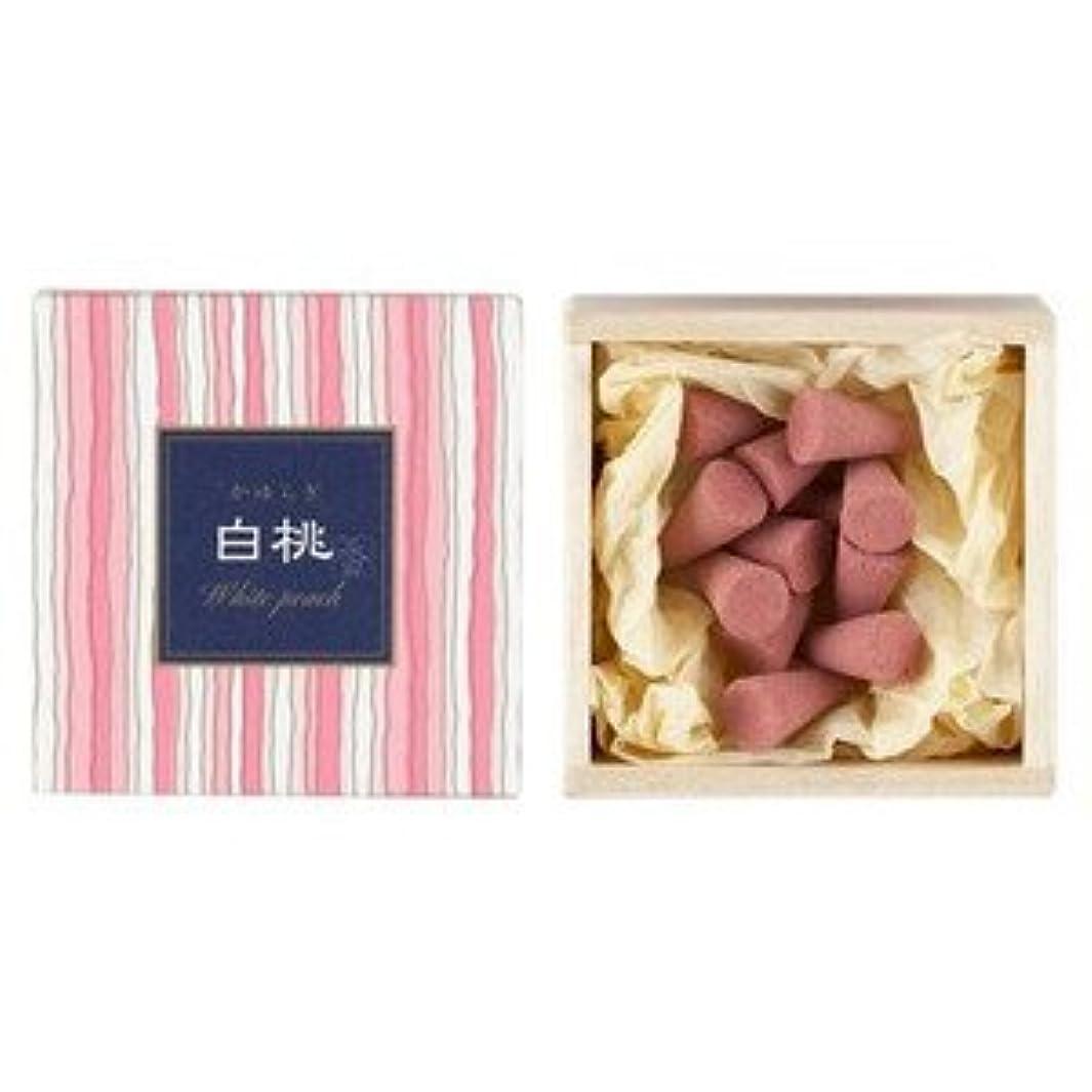 ペデスタル気性セットする日本香堂 かゆらぎコーン 白桃
