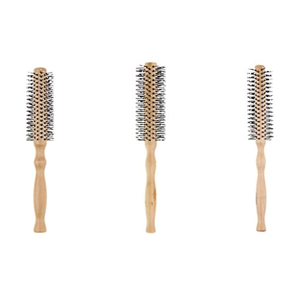 大理石水銀のトイレ3本セット ロールブラシ 巻き髪 ヘアブラシ 木製櫛 スタイリングブラシ