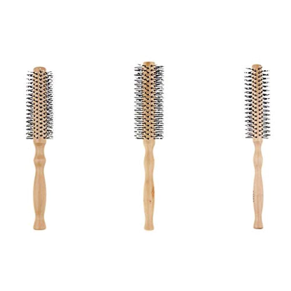 財産あざハイジャック3本セット ロールブラシ 巻き髪 ヘアブラシ 木製櫛 スタイリングブラシ