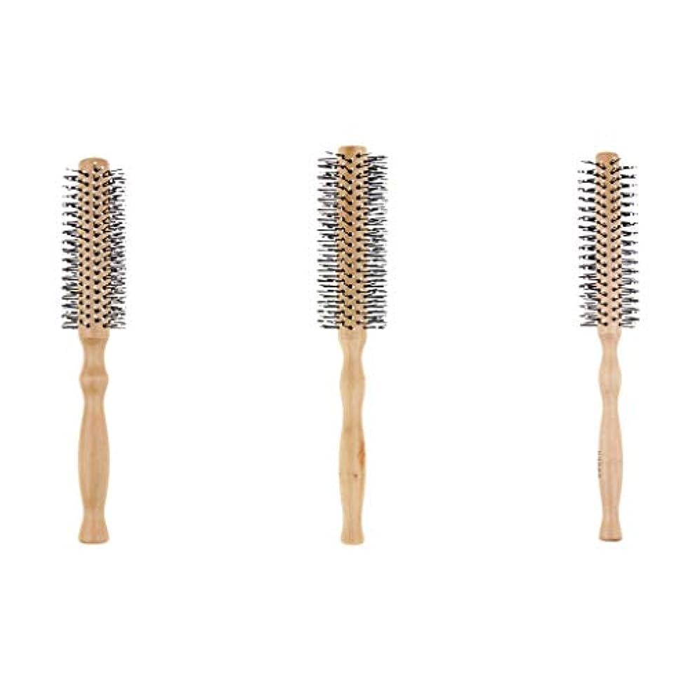 色ヒューズ許さないSM SunniMix 3本セット ロールブラシ 巻き髪 ヘアブラシ 木製櫛 スタイリングブラシ