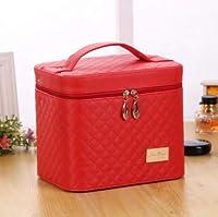 LYgMV 化粧品袋大容量のポータブルシンプルな化粧品ケース大型二層トイレタリー収納ボックス (Color : Red)