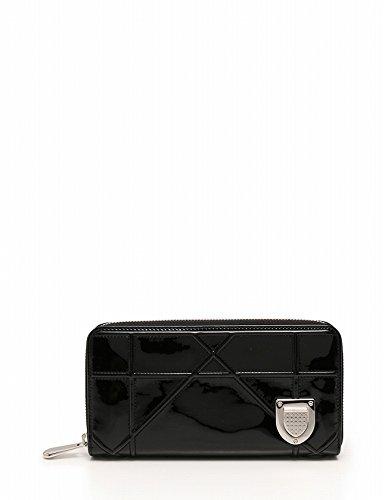 (クリスチャンディオール) Christian Dior 長財布 ディオラマ ラウンドファスナー エナメル レザー 黒 中古
