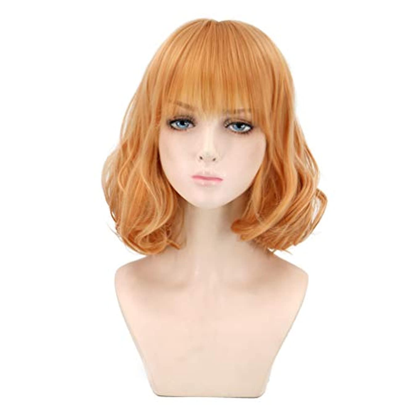 ソース人質十分女性のかつらカール耐熱合成かつらショートヘア150%密度ゴールド32 cm