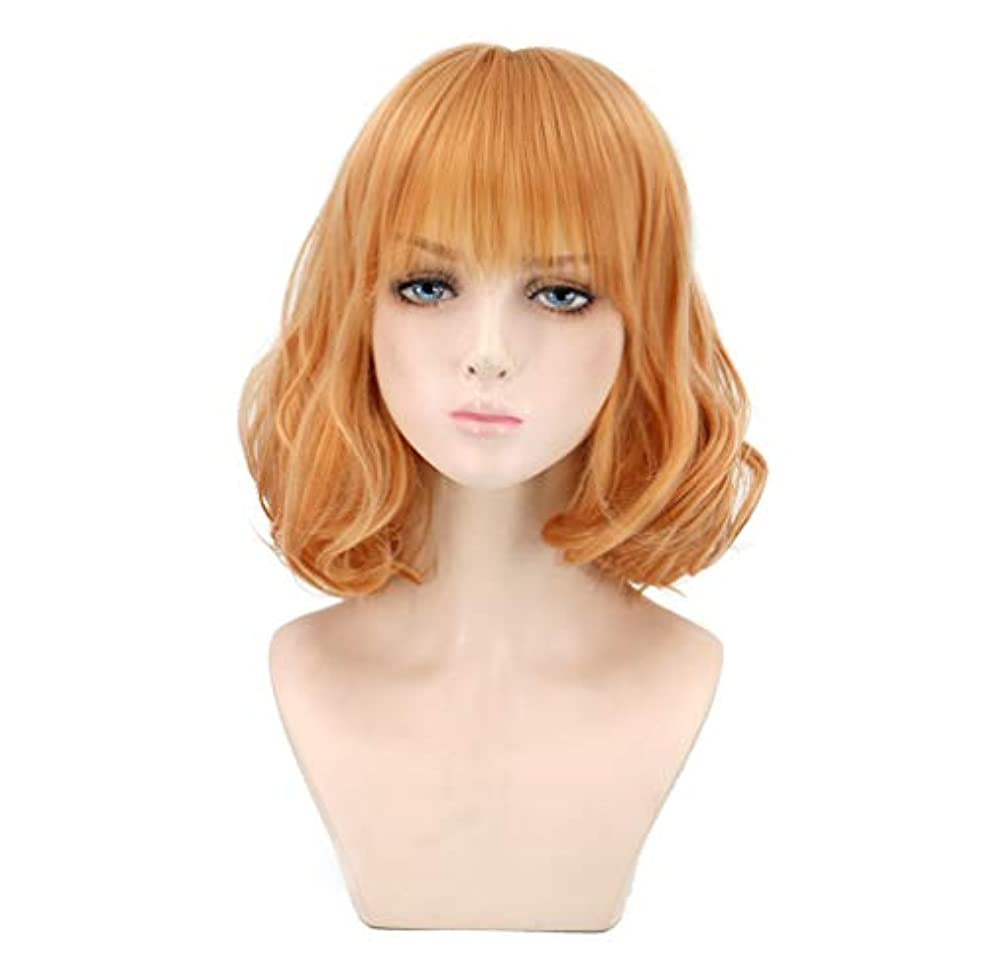 減少できないすべて女性のかつらカール耐熱合成かつらショートヘア150%密度ゴールド32 cm
