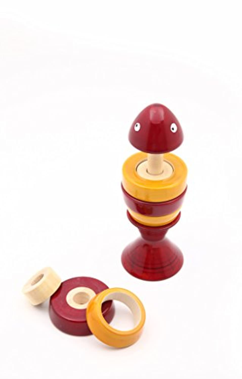 Caravan Red Fish inビット:楽しい手作りMix and Match Shape Sorting魚形状パズルin Natural Wood for Kids