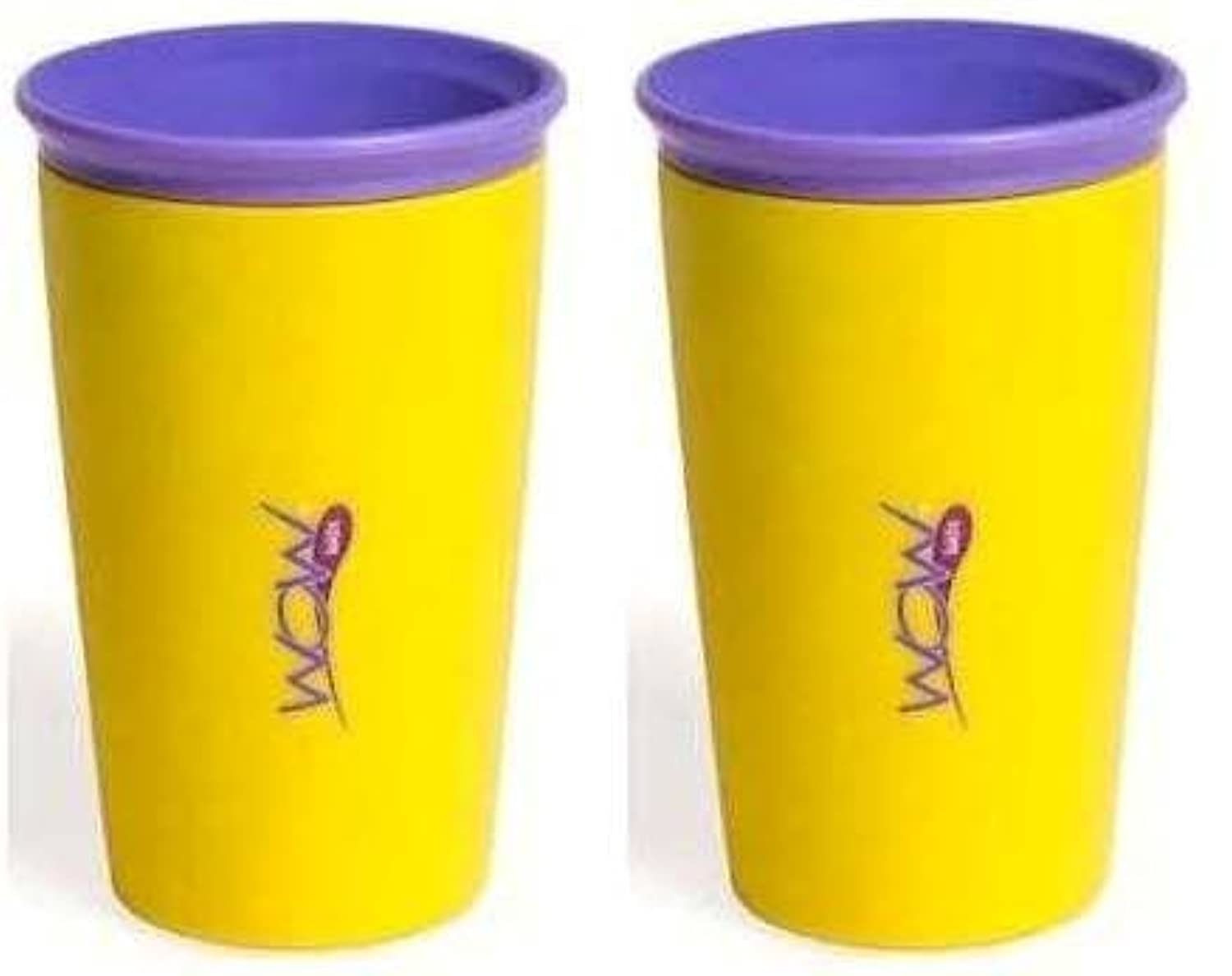 Wow Cup for Kids 360 Spill Free Drinking Cup - 9 Oz - Color: Yellow - 2 Count by Wow Gear