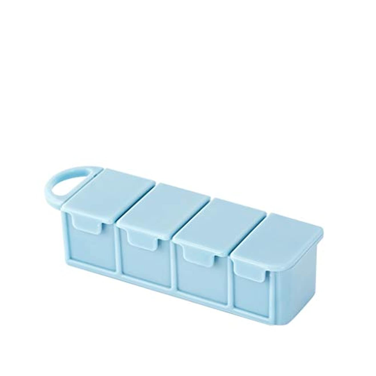 溶岩主観的スプーン家庭用ピルボックスポータブルピルボックス独立密封ピルボックスはピルボックスを運ぶことができます LIUXIN (Color : Blue, Size : 11cm×2.7cm×3.5cm)