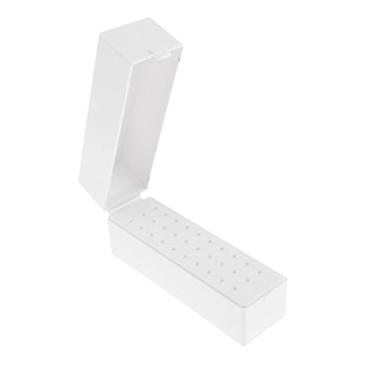見る思いやりのある原始的な30穴プラスチックネイルアートツールボックスネイルドリルビットホルダー防塵スタンド収納オーガナイザー