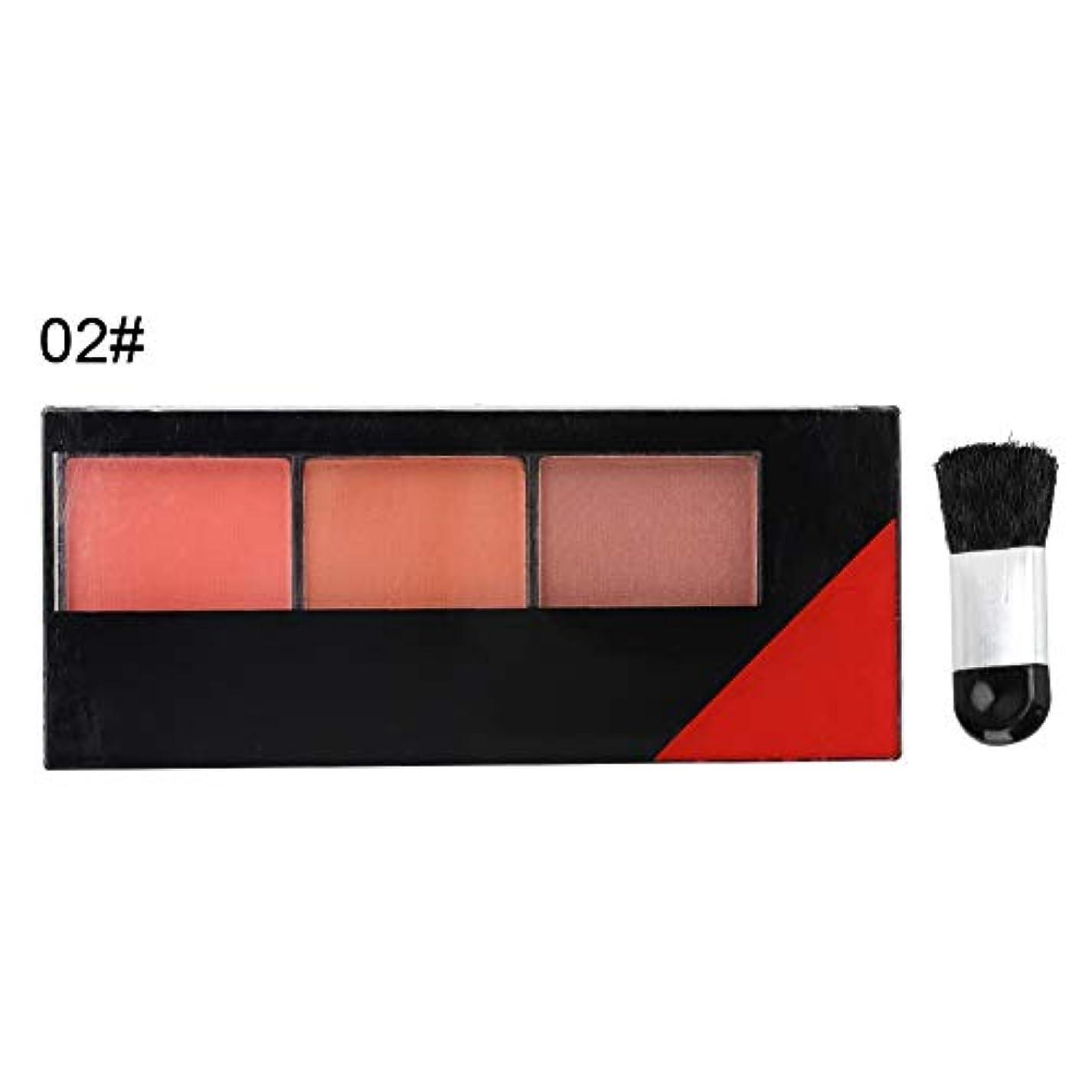 郵便屋さん対応制約3色フェイスメイクアップブラッシャー ハイドレイティングプリティフェアリープレスパウダー化粧品(02)