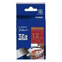 ブラザー工業 TZeテープ リボンテープ(ワインレッド地/金字) 12mm TZe-RW34