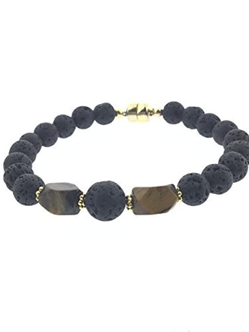 広げる怠家Tiger-eye and Lava Essential Oil Diffuser Bracelet with Gold-Filled Rare Earth Magnetic Clasp - SMALL [並行輸入品]