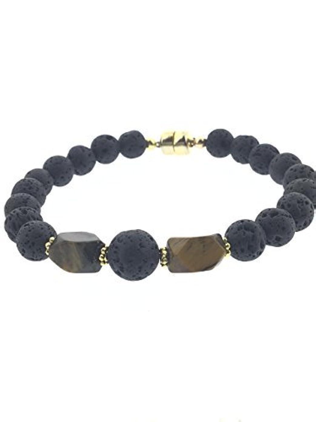スチール比喩バイアスTiger-eye and Lava Essential Oil Diffuser Bracelet with Gold-Filled Rare Earth Magnetic Clasp - SMALL [並行輸入品]