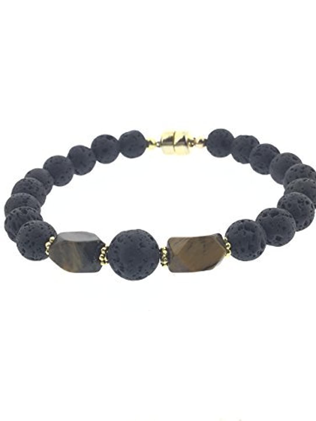 わずかなぶどう霊Tiger-eye and Lava Essential Oil Diffuser Bracelet with Gold-Filled Rare Earth Magnetic Clasp - SMALL [並行輸入品]