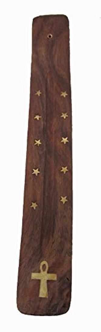 文芸ハッチ貸し手手作り木製Incense Holder with真鍮Inlay with Ankhデザイン