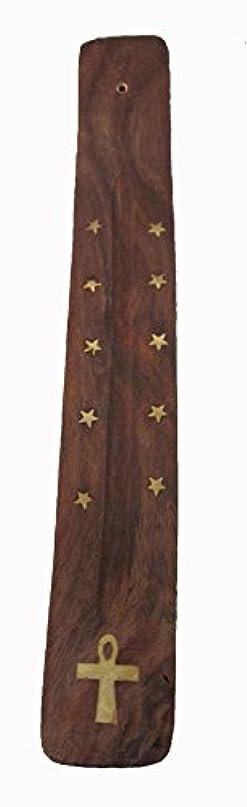 ミュートパトロン土曜日手作り木製Incense Holder with真鍮Inlay with Ankhデザイン