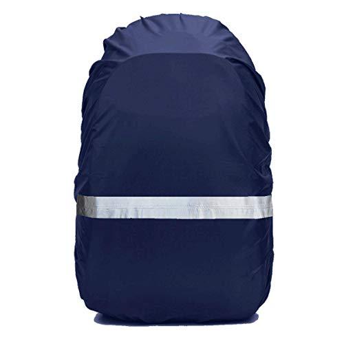 リュックカバー レインカバー 雨よけ 夜光反射 2倍以上防水 耐水压5000mm ザックカバー5色 3サイズ 落下防止のクロスバックル 収納袋付き Frelaxy (ミッドナイトブルー, L (35-50L))