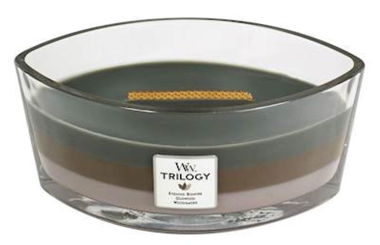 移民首尾一貫したバイアスCozyキャビンTrilogy – Hearthwick Flame Scented Candle by WoodWick – 3 in 1つ