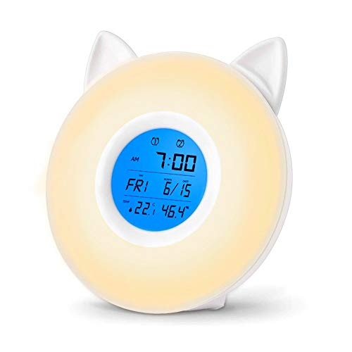 Bostar 目覚まし時計 光 LEDライト 7色変換 FMラジオ機能 湿度 温度 usb充電 調光 アラーム ベッドサイドランプ かわいい猫