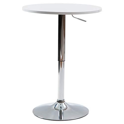 【美感スタイリッシュ 昇降式バーテーブル】(直径60cm)使いやすい安定したカウンターテーブル お洒落なBARテーブル 丸テーブル 立食用でもOK 人に高さを合わせる円テーブル (ホワイト色)