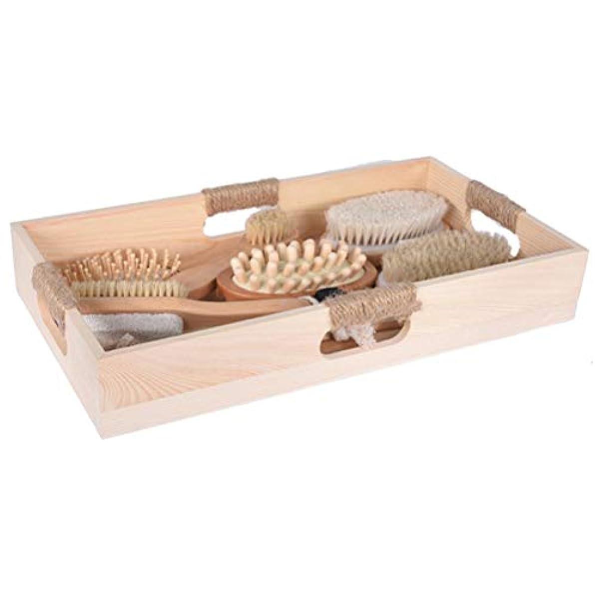 沈黙有力者好色なHealifty 6ピース入浴ボディブラシマッサージブラシ木製ハンドルセルライトマッサージフットファイルブラシヘアマッサージ櫛で収納トレイ