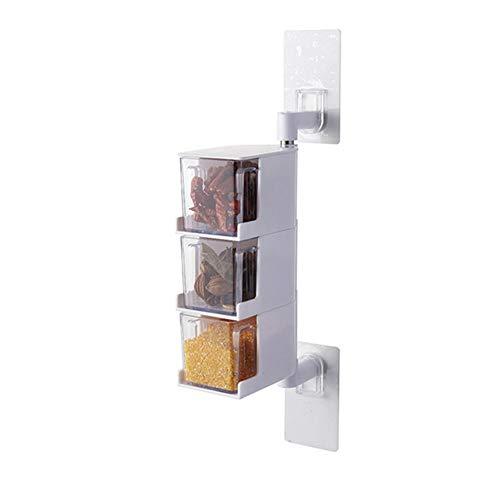 JanusSaja 360回転調味料収納ボックス穴無料多層調...