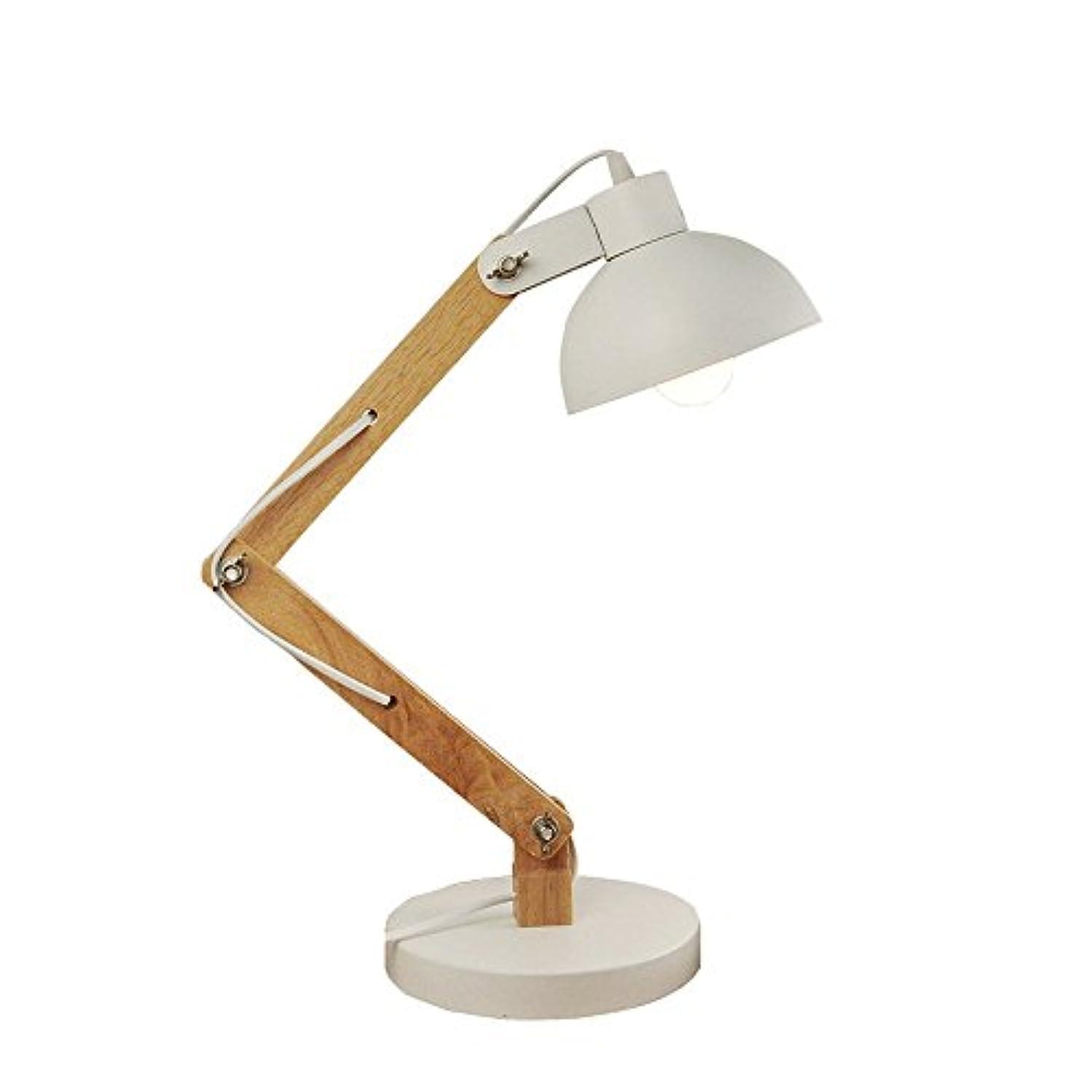 流産放出比類のない北欧木製テーブルランプ調節可能なLEDデスクランプブラック/ホワイトデスク読書ランプリビングルームスタディデスクデコレーションランプ (Color : White)