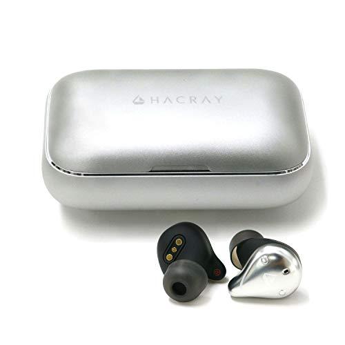 HACRAY W1 完全ワイヤレスイヤホン シルバー アルミ充電ケース 7時間連続再生 IPX7完全防水 スポーツに最適 Bluetooth 5.0 【日本正規代理店品】