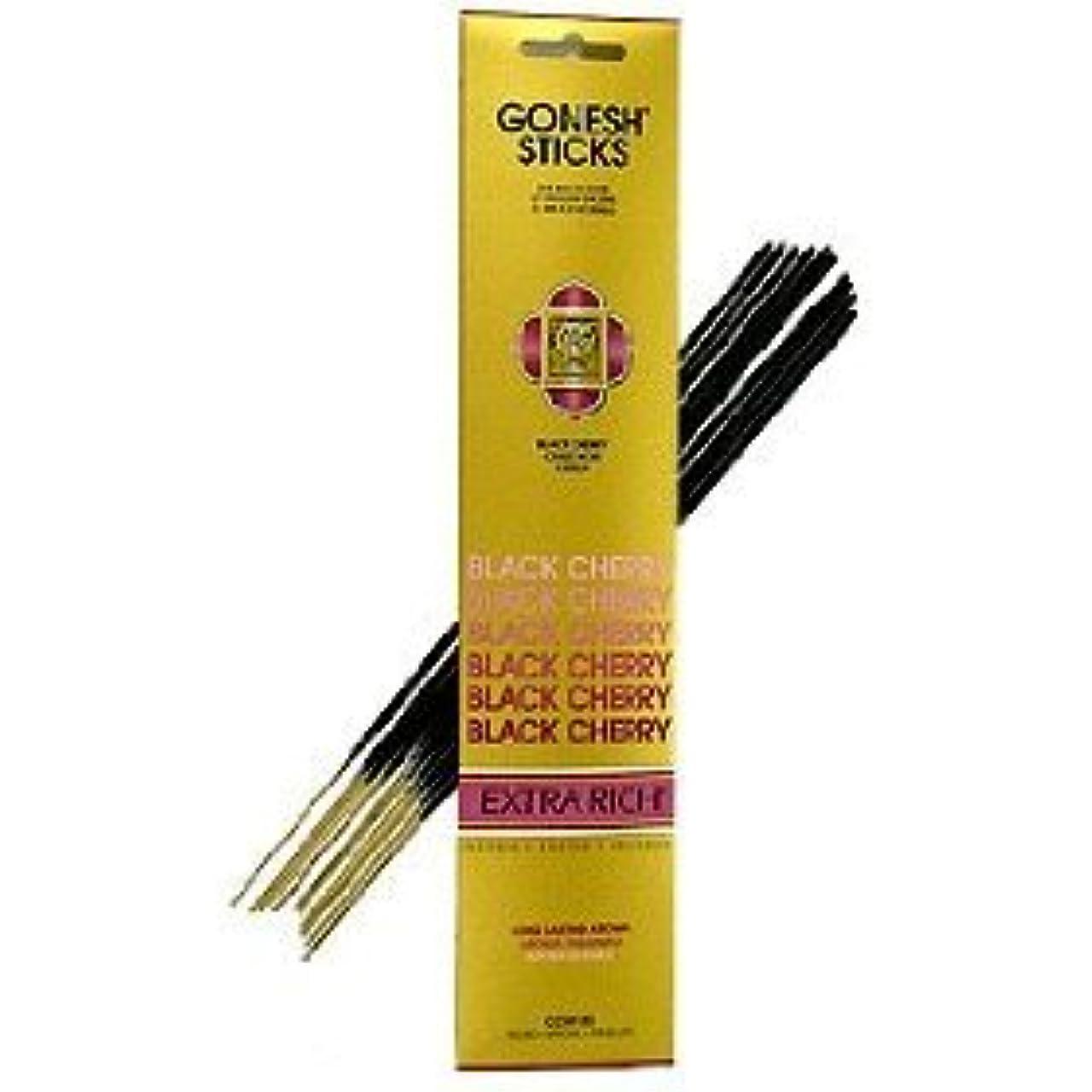 ランドリー黒くする縮れたGonesh ~ Incense Sticks ~ Pack of 4 ~ブラックチェリー