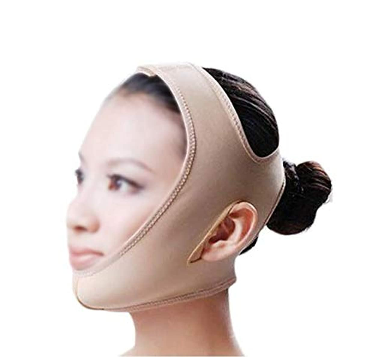 リンスシャンパン床GLJJQMY 引き締めマスクマスクフェイシャルマスク美容薬マスク美容V顔包帯ライン彫刻引き締めしっかりした二重あごマスク 顔用整形マスク (Size : M)