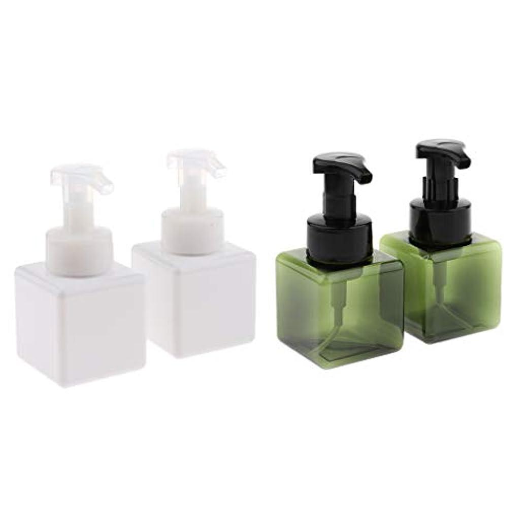 時間厳守に関して中性4個入り詰め替え容器 泡ポンプボトル 小分けボトル ディスペンサー スクエア 再利用可 250ml 全5色 - ホワイト+ダークグリーン