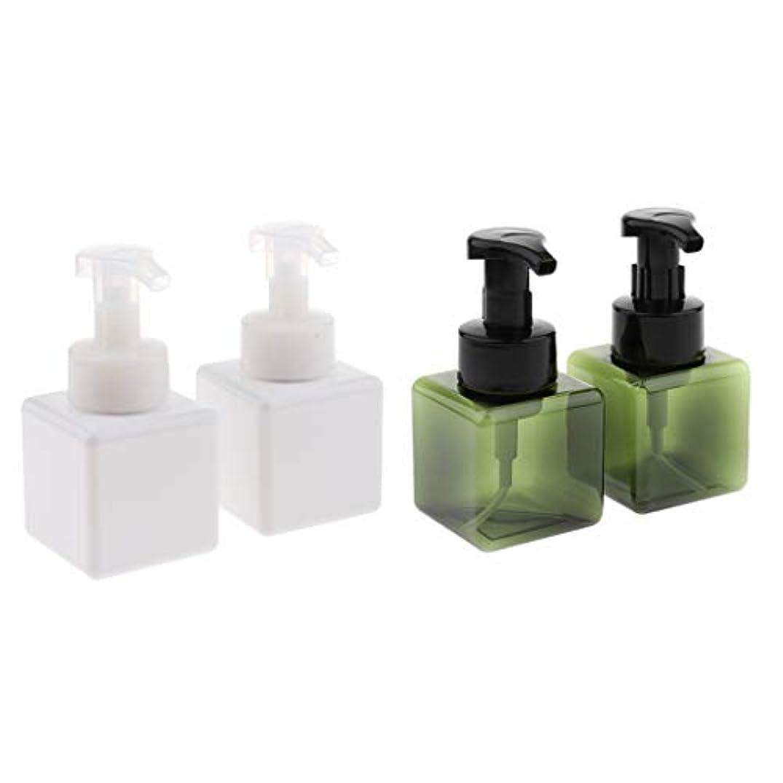 帝国有望足首4個入り詰め替え容器 泡ポンプボトル 小分けボトル ディスペンサー スクエア 再利用可 250ml 全5色 - ホワイト+ダークグリーン