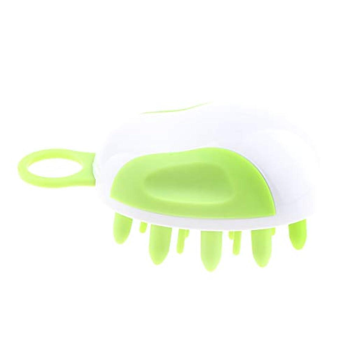 粘着性契約マニフェストシャンプーブラシ 角質除去 ヘアダイコーム ヘアブラシ 頭皮マッサージャー ヘアカラーリング用品 全2カラー - 緑