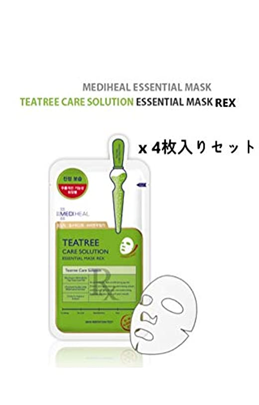 平らなきちんとした不安定MEDI HEAL☆Teatree Care Solution essential mask REX(4pcs)☆ メディヒール ティーツリーケア ソルーション エッセンシャルマスクREX(4枚入り) [並行輸入品]