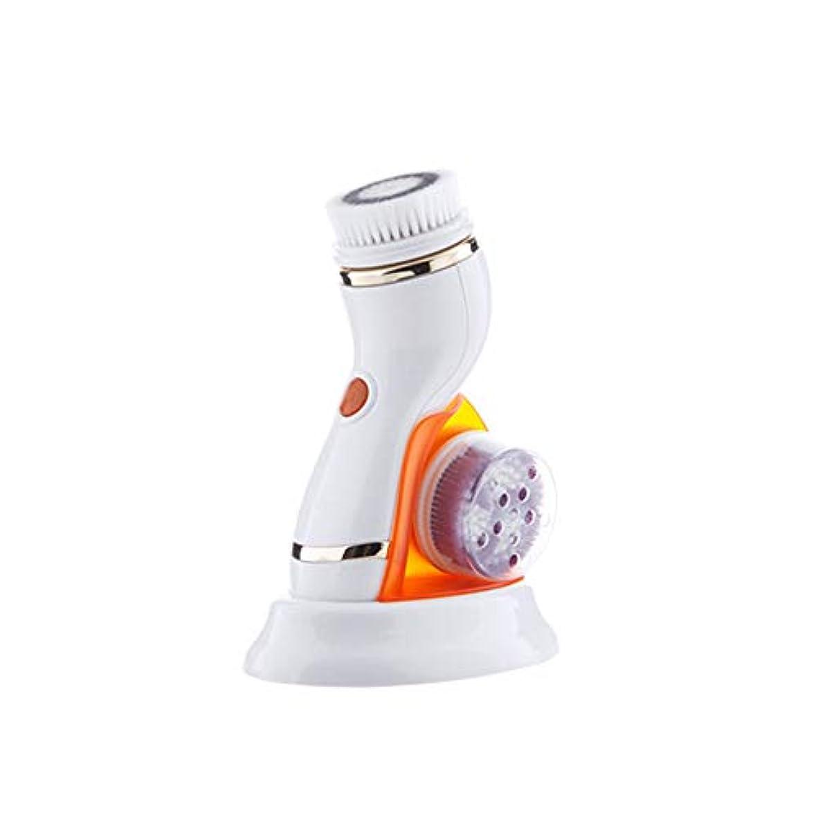 不当ベースレーザ4 in 1フェイシャルクレンジングブラシ、ポータブル電気防水回転式フェイススクラバー、フェイスクリーニング用の4つのブラシヘッド、角質除去マッサージ,オレンジ色