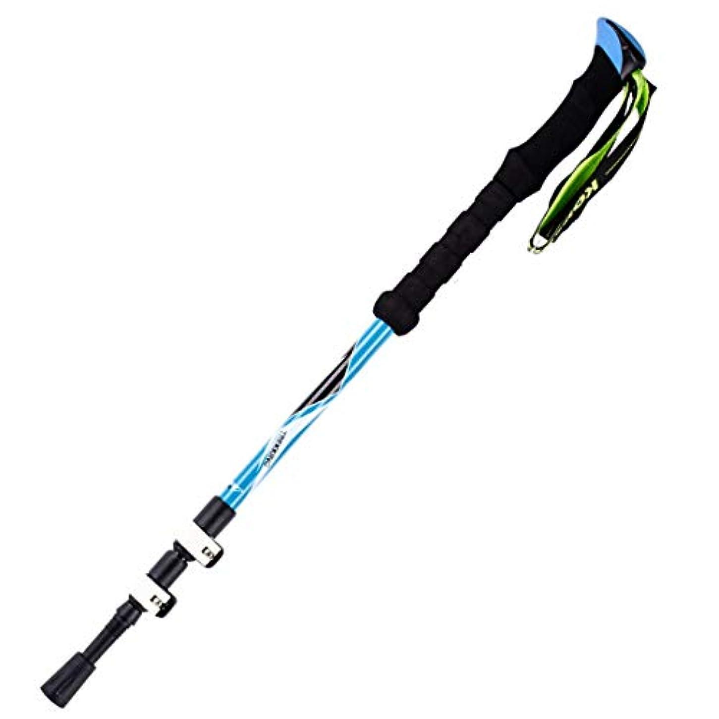 劣るスポーツをするうなずくYIJUPIN Alpenstocksロックカーボンファイバーフォールディング3セクションテレスコピックウォーキングスティックウォーキングアウトドアスポーツマンのための超軽量ストレートウォーキングスティック (色 : 青, サイズ : 135cm)
