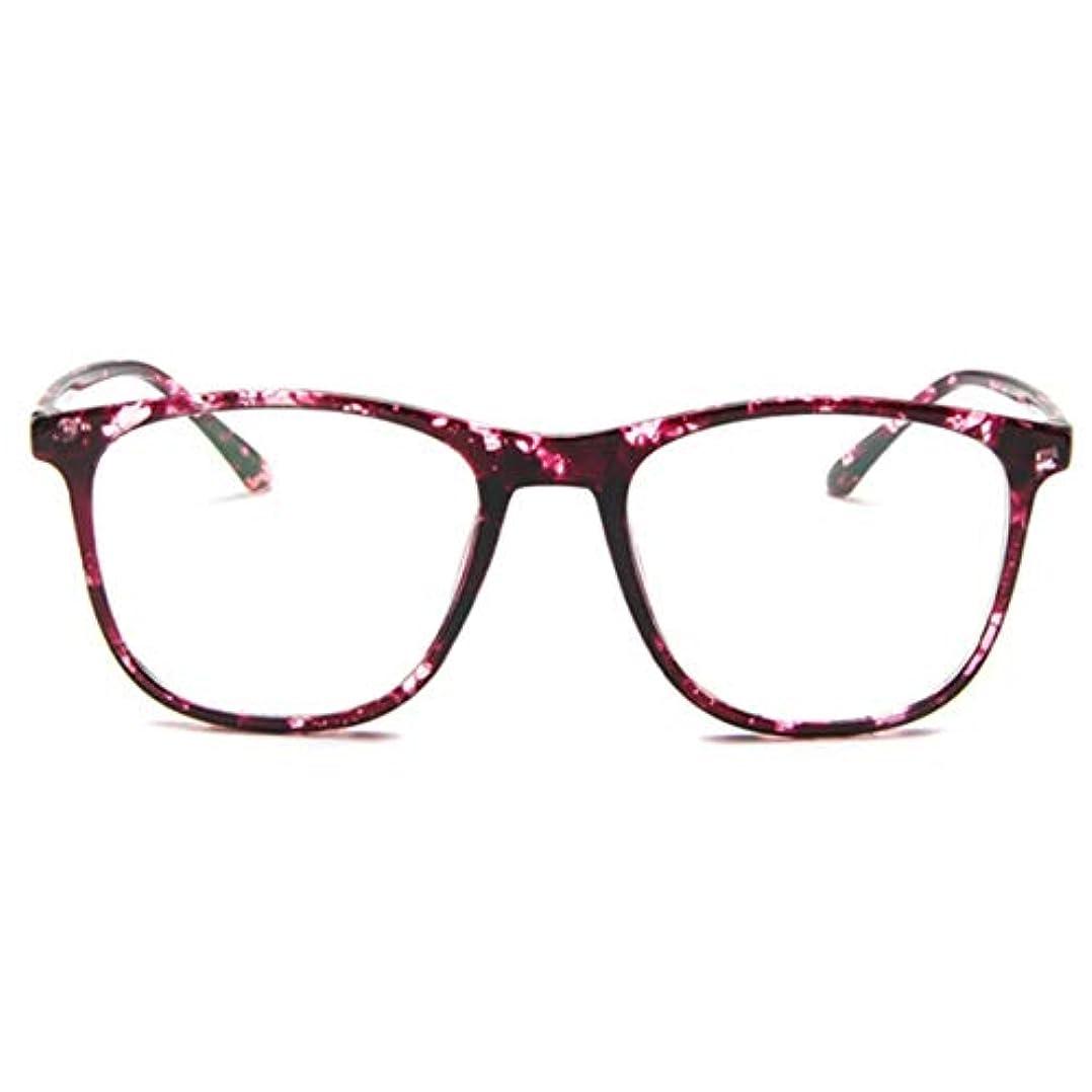 終わった推定ユーモラス韓国の学生のプレーンメガネ男性と女性のファッションメガネフレーム近視メガネフレームファッショナブルなシンプルなメガネ-パープル