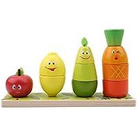 幼児期のゲーム 木製の教育玩具幼稚園の果物の形の色の認識幾何学的ブロックの積み重ねソーター