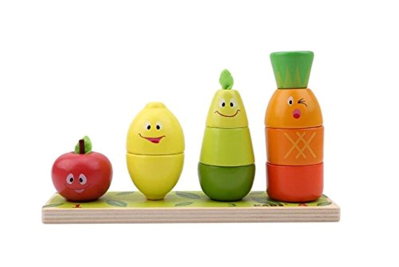 HuaQingPiJu-JP 木製の教育玩具幼稚園の果物の形の色の認識幾何学的ブロックの積み重ねソーター