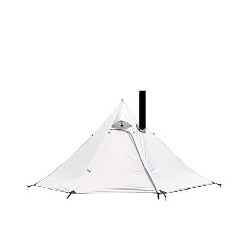 3-4人用 ワンポールテント 単層テント 収納ケース付 フルクローズ 簡単設営 防雨防風防災 (灰白)