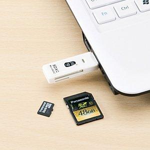 サンワダイレクト リーダー microSD SDHC SDXC 対応 ホワイト 400-ADR104