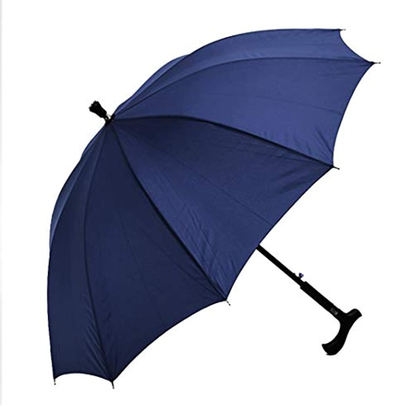 反論恵みナビゲーションcomentrisyz 2-in-1 クライミング ハイキング スティック 松葉杖 防風雨 サン 傘 - ブルー
