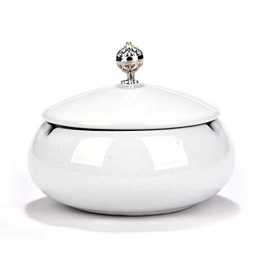 ドレスに話す長くするタバコ、ギフトおよび総本店の装飾のための円形の光沢のあるセラミック灰皿 (色 : 白)