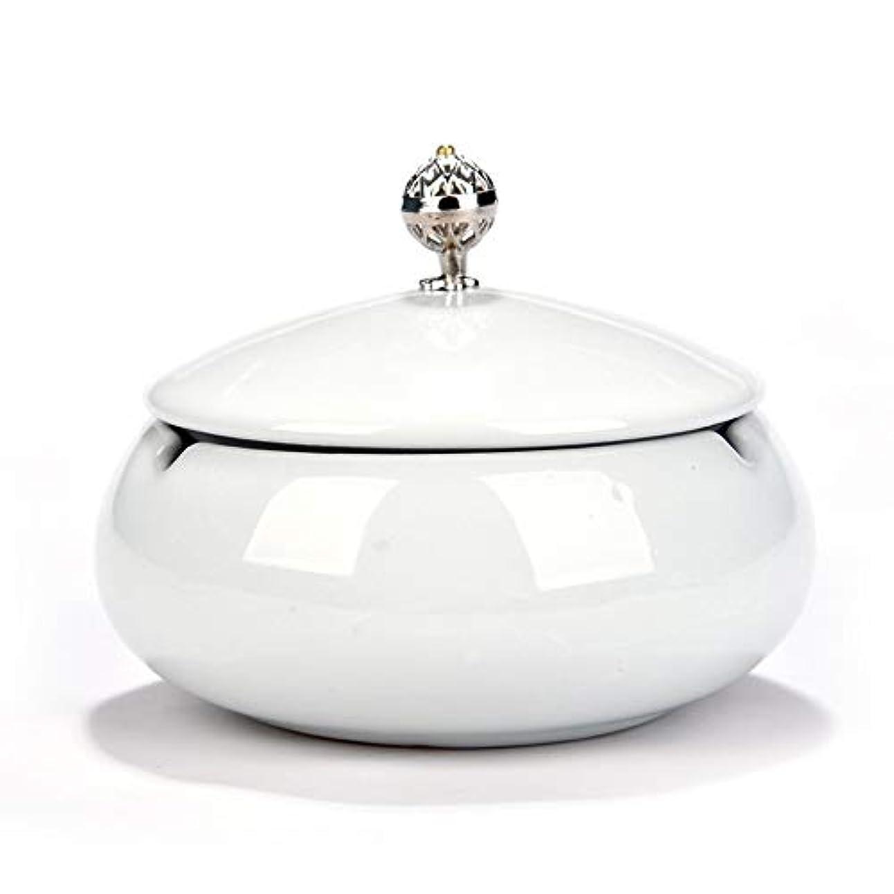 慢な魂タバコ、ギフトおよび総本店の装飾のための円形の光沢のあるセラミック灰皿 (色 : 白)