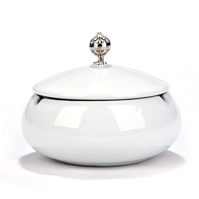尊敬懇願する苦難タバコ、ギフトおよび総本店の装飾のための円形の光沢のあるセラミック灰皿 (色 : 白)