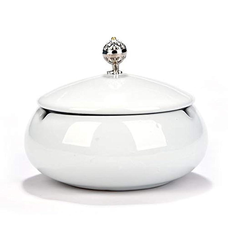 フックリマジレンマタバコ、ギフトおよび総本店の装飾のための円形の光沢のあるセラミック灰皿 (色 : 白)
