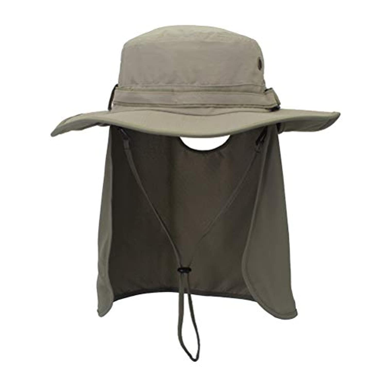 メナジェリースクリュー後方にLIOOBO アウトドアアクティビティハットシェード UV保護 サンハットキャップ ワイドつば帽子 ネックフラップ