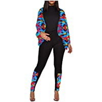 MogogN Womens Bishop Sleeve Peafowl Casual 2 Pieces Tracksuits Outfit