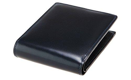 【キプリス】二つ折り財布(小銭入れ付き札入)■オイルシェルコードバン&リンピッドカーフ 5301(ネイビー)